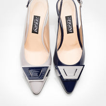 Load image into Gallery viewer, Ivory Navy Blue Asymmetric Slingback Pump