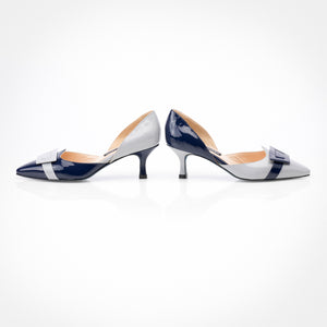 Light Grey Navy Asymmetric D'Orsay Pump