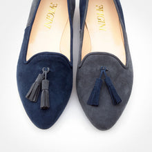 Load image into Gallery viewer, Grey Blue Asymmetric Slip-on Flat