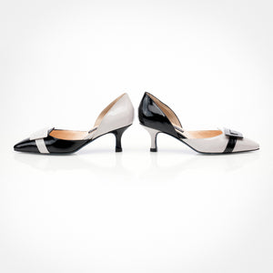 Light Grey Black Asymmetric D'Orsay Pump