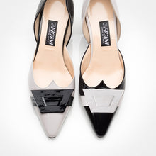 Load image into Gallery viewer, Light Grey Black Asymmetric D'Orsay Pump