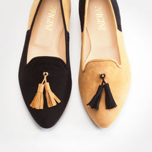 Load image into Gallery viewer, Black Mustard Asymmetric Slip-on Flat
