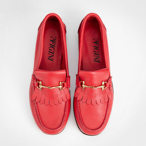 Horsebit Fringe Red Loafer