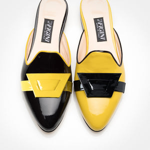 Black Yellow Asymmetric Mule Asymmetric