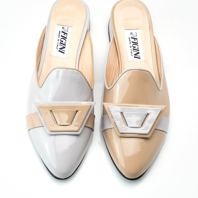 Beige Off-White Asymmetric Mule