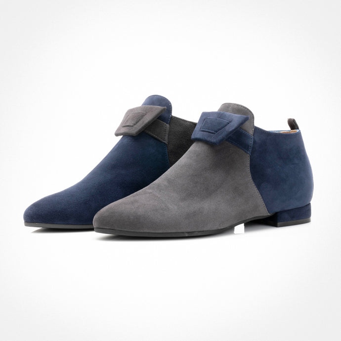 Blue Grey Asymmetric Ankle Boot