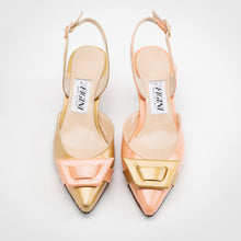 Load image into Gallery viewer, Gold Apricot Asymmetric Slingback Pump