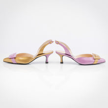 Load image into Gallery viewer, Gold Lilac Asymmetric Slingback Pump