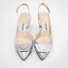 Load image into Gallery viewer, Grey Pearl Asymmetric Slingback Pump - kitten heel