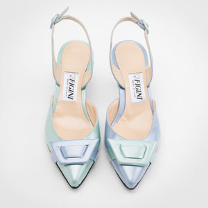 Blue shades Asymmetric Slingback Pump