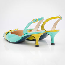 Load image into Gallery viewer, Mint Yellow Asymmetric Slingback Pump