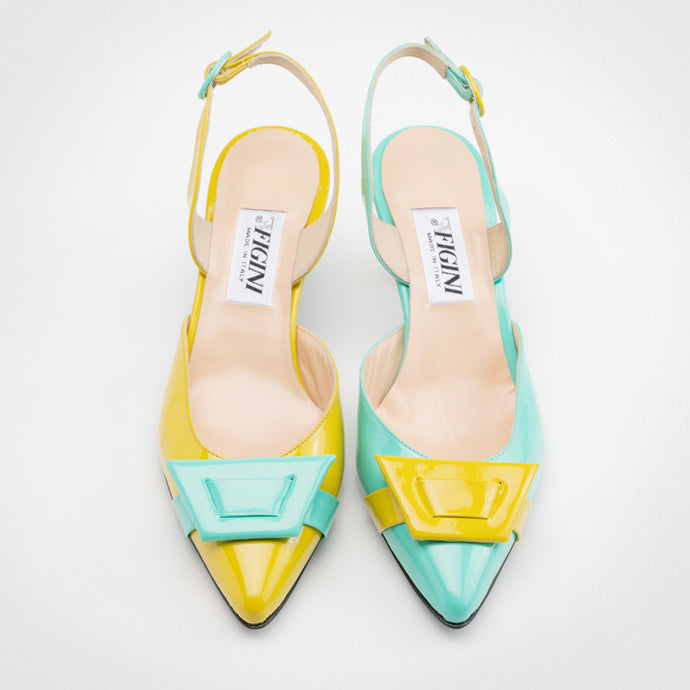 Mint Yellow Asymmetric Slingback Pump