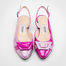 Load image into Gallery viewer, Pink Purple Asymmetric Slingback Flat