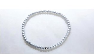 Thin Stretch White with Sterling Silver Ball Magnetic Stretch Anklet (9.5