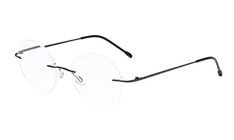 Eyekepper Frameless Eyeglasses Women - Round Rimless Eyewear Men Black