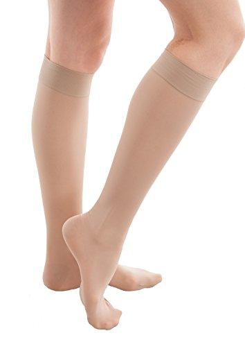 GABRIALLA Sheer Compression Stockings Calf Knee Highs Medical Lymphedema Varicose Nursing Activewear for Women (20-22 mmHg), 2X-Large, Beige