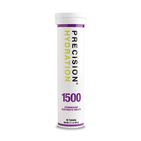 Precision Hydration Lite Electrolyte Drink - Multi Strength Effervescent Hydration Tablets - Combats Cramp - Low Calorie, Gluten Free, Vegan/Vegetarian Friendly, NSF (1 Tube, 1500mg/L - Purple Tube)