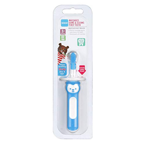 MAM Massaging Brush, Baby Toothbrush and Gum Cleaner and Massager, Boy, Blue, 3+ Months