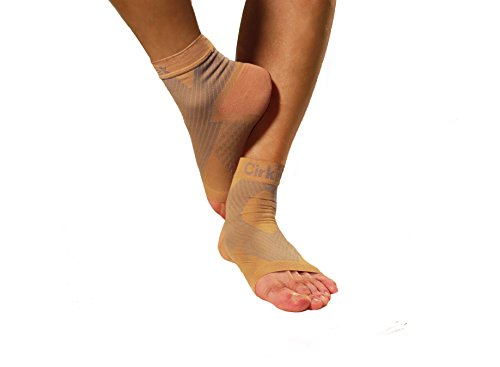 MDSOX 096962785000 Premium Ankle Compression Foot Sleeve, Large, Nude (Pack of 2)