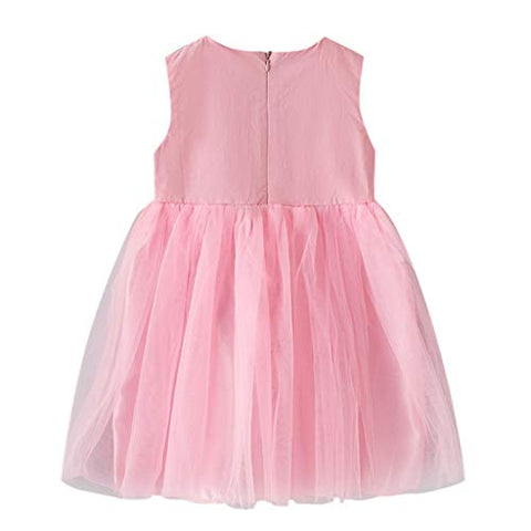 heavKin-Clothes 3-9Y Children's Kids Girls O-Neck Dress Solid Color Sleeveless Mesh Applique Skirts (Pink, 6-7 Years)