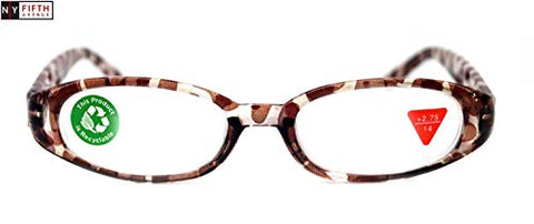 Isabella, Premium Reading Glasses, Fashion Reader Giraffe Brown Print +1.25 +1.5 +1.75 +2 +2.25 +2.5 +2.75 +3. Oval Shape. NY Fifth Avenue.