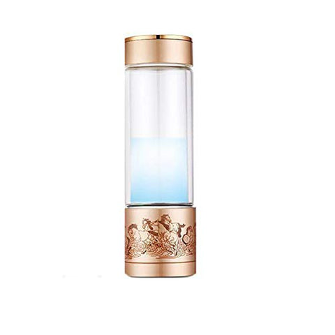 LOVEPET Portable 3 Minute Hydrogen-Rich Water Bottle Rechargeable High Concentration Hydrogen Generator Glass Bottle Anti-Aging Anti-Oxidation Alkaline Water Generator, 350ml