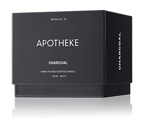 Apotheke Luxury Scented 3 Wick Jar Candle, Charcoal, 32 Oz   Perfume Grade Fragrance Oil, Maximum Es