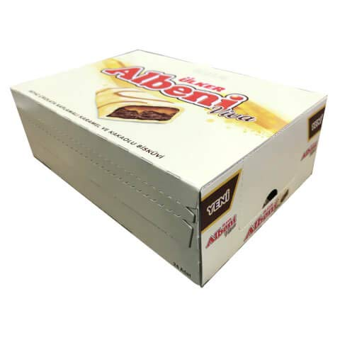 Albeni viva White chocolate covered caramel and cracker with chocolate (albeni viva) 36 gr x 24 pcs ( 1 box) Product of Turkey