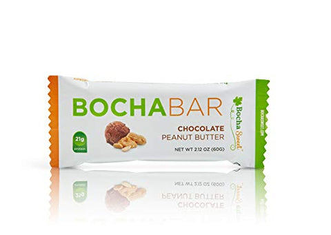 BochaSweet Protein Bar, Chocolate Peanut Butter BochaBar, 21g Grass Fed Collagen, Low Carb, Keto-Friendly, Gluten Free, 12 Count