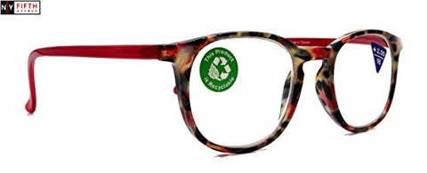 Ella, Premium Reading Glasses Round. High End Readers Modern Circle Style. Red Tortoiseshell Frame +1.25 to +3 Magnifying. NY Fifth Avenue.