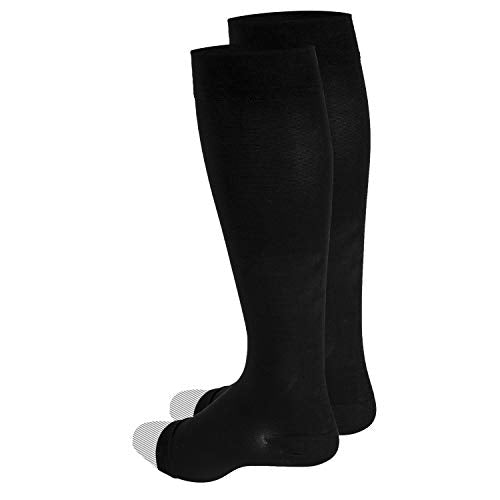 Truform 20 30 Mm Hg Compression Stocking For Men And Women, Knee High Length, Open Toe, Black, Xx Lar