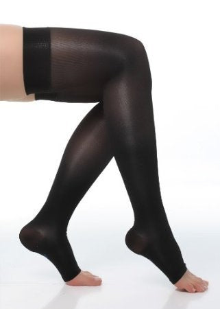 BriteLeafs Sheer Compression Stockings Thigh High 20-30 mmHg, Firm Support, Open Toe, Stay-Up Silicone Band (Medium, Black)