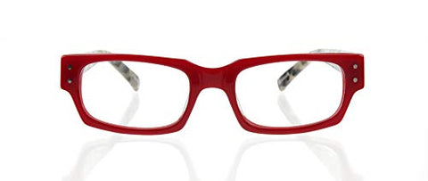 eyebobs Peckerhead Unisex Premium Readers, Red Front with Black and White Tortoise Temples, 1.50 Magnification