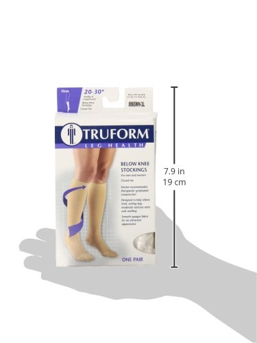 Truform 20 30 Mm Hg Compression Stockings For Men And Women, Knee High Length, Closed Toe, White, Xxx