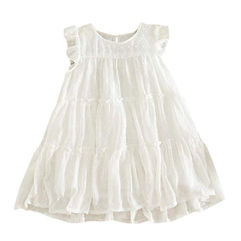 heavKin-Clothes 2-7Y Kids Baby Girls Summer Dress Sleeveless Ruffled Frill Solid Color Knee-Length Skirt (White, 6-7 Years)