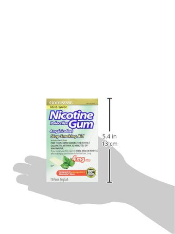 GoodSense Nicotine Polacrilex Uncoated Gum 4 mg (nicotine), Mint Flavor, Stop Smoking Aid; quit smoking with nicotine gum, 110 Count