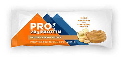 PROBAR - Base Protein Bar, Frosted Peanut Butter, Non-GMO, Gluten-Free, Certified Organic, Healthy, Plant-Based Whole Food Ingredients (12 Count) Packaging May Vary