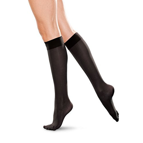 Therafirm Knee High Support Stockings - 20-30mmHg Moderate Compression Nylons (Black, 3X-Large)