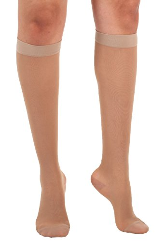 Absolute Support Women's Compression Stockings - Sheer Knee High, 15-20 mmHg Medium Graduated Support - Large, Natural