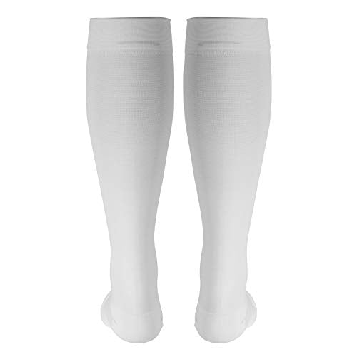 Truform 20-30 mmHg Compression Stocking for Men and Women, Knee High Length, Open Toe, White, Large