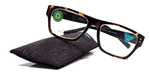 Brooklyn, Premium Reading Glasses, High End Readers +1.25.+1.75.+2.25.+3 Magnifying, Tortoise Black Square Frame. Pink. NY Fifth Avenue.