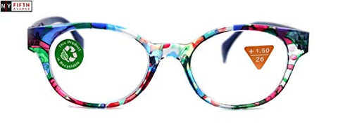 Versailles, Premium Reading Glasses High End Readers+1.25, 1.50 to +3.00, Modern Round Style. Optical Frames. Blue Floral. NY Fifth Avenue