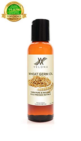 100% Organic Wheat Germ Oil USP Grade by Velona | All Natural Pure Carrier Oil for Ski, Hair, Body & Face Moisturizing | Refined, Cold Pressed | Size: 32 oz