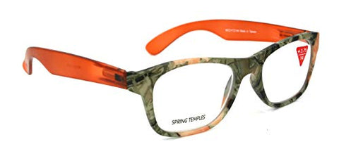 The Forester, Premium Reading Glasses, High End Reader +1.25.+3 Magnifying Wayfarer Style Orange Camouflage Optical Frame. NY Fifth Avenue