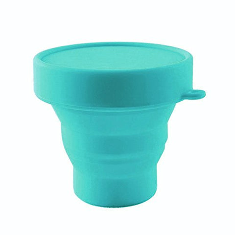 Collapsible Silicone Cup Foldable Sterilizing Cup for Menstrual Cups and Storing Your Diva Cup - Foldable for Travel from LUCKY CLOVER (Sky Blue)