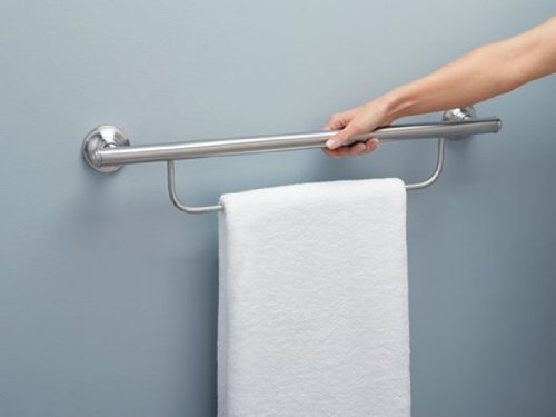 Moen LR2350DBN Home Care Bathroom Safety 24-Inch Grab Bar with Towel Bar, Brushed Nickel