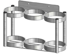 FWF Oxygen Wall Mount Rack Holds 3 (D OR E Style) CYLINDERS Diameter 4.3