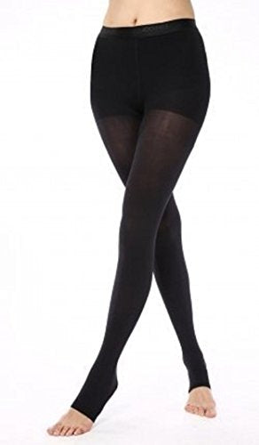BriteLeafs Sheer Compression Pantyhose 20-30 mmHg, Firm Support, Open Toe (XX-Large, Black)