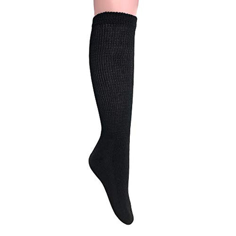 Diabetic Socks Over The Calf Big and Tall Extra Wide Full Cushion Socks Made in USA (9-11, Black - 6 Pairs)
