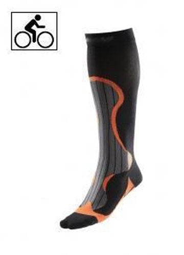 BriteLeafs Professional Cycling Athletic Sports Graduated Support Compression Socks - 20-30mmHg Firm Support, Knee High, Professional Grade, Unisex with Coolmax (Large, Black/Orange)